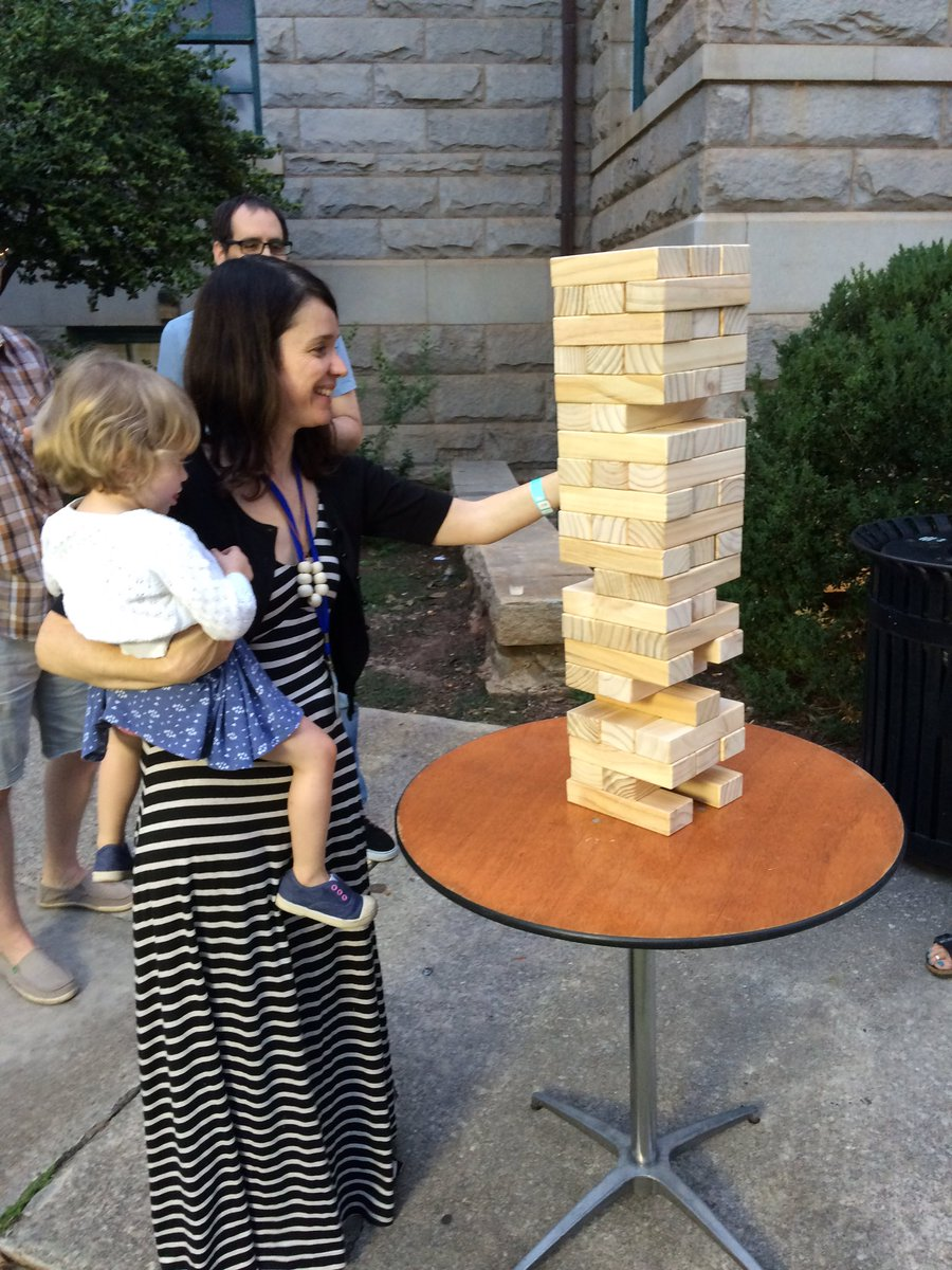 Belle Boggs playing Jenga in Decatur, GA